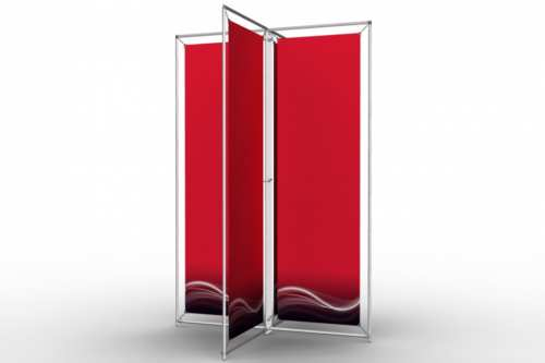 """X-Shape Stand to display four 18"""" posters"""