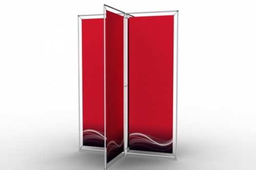 "X-Shape Stand to display four 24"" posters"