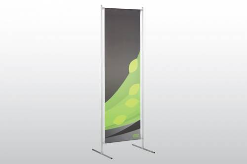 "Loop Floor Stand to display an 18"" wide poster"