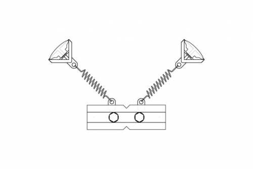 T-Clip Quadruple avec 2 ressorts courts et clips