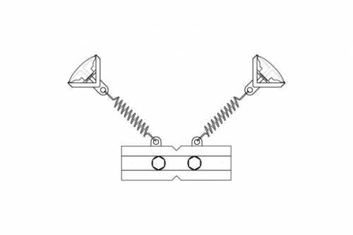 T-Clip Quadruple avec 2 ressorts souples et clips