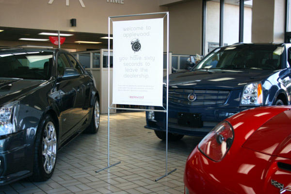 Floor Stand in Car Dealer showroom